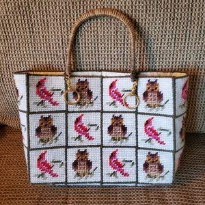 Vintage cross stitch owl cardinal shoulder purse